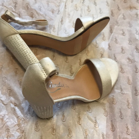 b95eb0c26422 Candie s Camerengue Silver Ankle Strap Heels. NWT